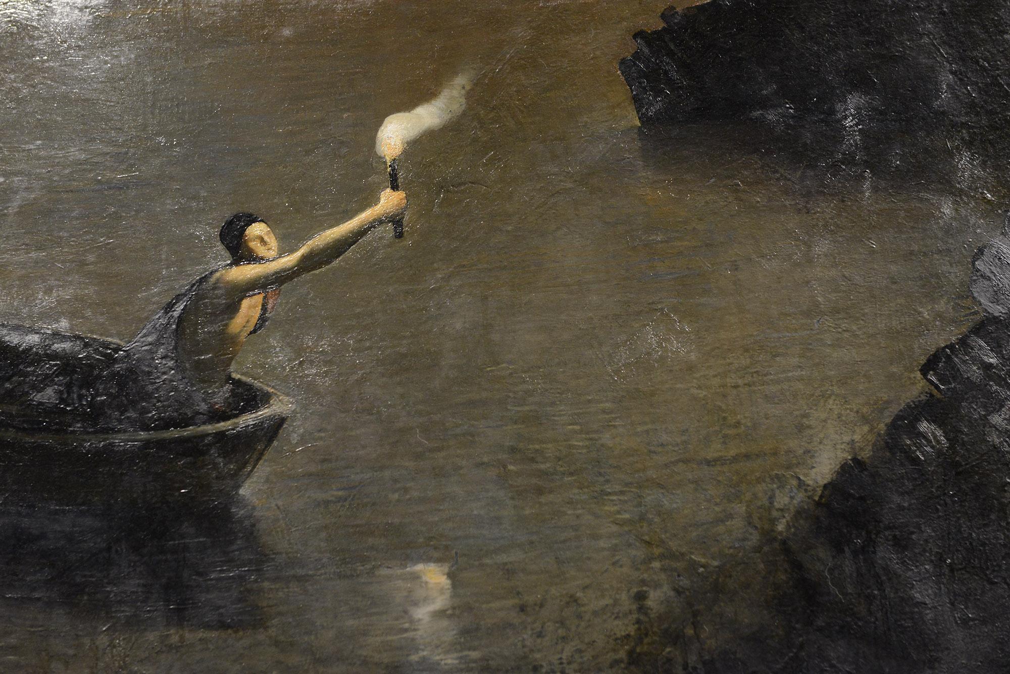 Detalj fra maleriet Contra Natura. Det blir omtalt som et av Odd Nerdrums hovedverk. Bildet henger på Vestlia Resort på Geilo. Maleriet er en del av samlingen til The Gundersen Collection.