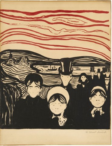 """Edvard Munch Angst, 1896 Fargelitografi trykket i sort og rødt Papirmål: 430 x 400 Trykkmål: 420 x 385 Signert nede til høyre med blyant: Edvard Munch, Nummerte nede til høyre: No 16 *** Local Caption *** Musee des Beaux-Arts de Caen i Normandie 2011 – 2012 The Scottish National Gallery of Modern Art, Edinburgh 2012 Aaros, Århus 2012 """"Edvard Munch. I oss er verden"""", KODE, Bergen 19.08.2019- 15.02.2020, kat nr. 85"""