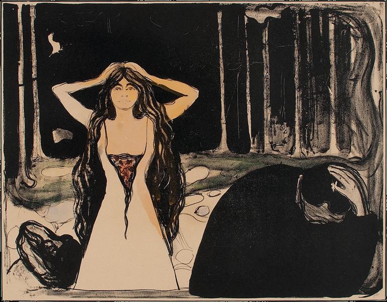 Edvard Munch, Aske II, 1899. Litografi trykket i sort. Håndkolorert med vannfarger i rødt, blått, grønt, gult og oransje. The Gundersen Collection.