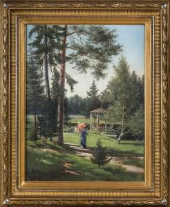 """Herman Wedel Anker (1845-1895) vokste opp på Rotnes bruk i Nittedal. Planen til var å bli offiser, men det var vanskelig å skaffe seg stilling. """"Kvinne ved lysthuset"""" Olje på lerret 92x66 cm Anker viet seg til landskapsmalerier som han utførte med en nitid og vakker detaljgjengivelse. Dette motivet er fra Modum Bad."""
