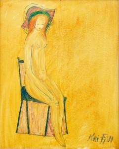 Det lille gule bildet med en naken kvinne ble kjøpt rett før åpningen av Kai Fjell-salen på Vestlia Resort. 1957, Olje på plate, 22 x 27 cm