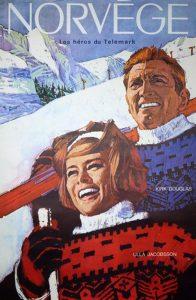 """1965: Fransk versjon av filmplakaten til """"Helter i Telemark"""". Filmstjernene Kirk Douglas og Ulla Jacobsson. Trygve B. Pedersen & Sønn A/S, O"""
