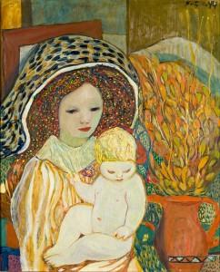 Det var særlig to temaer i kunstneren Kai Fjell sin produksjon. Spillemannen og kvinnen. Kvinnen er symbolet på naturen og fruktbarheten. Mor og barn, 1944, olje på plate, 60 x 49 cm.