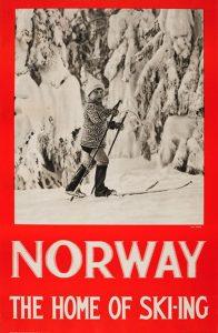 1935: Engelsk turistplakat for Norge med fotografi tatt av Hermann Christian Neupert på oppdrag fra NSB.