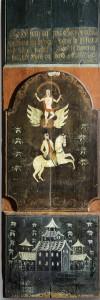 Veggpanel 1818 H: 148 B:51 Hebrand Sata (1753–1830) har datert og signert nede til høyre i tekstfeltet på dette veggpanelet. «Ao 18181 Sata» Øverst teksten «Gud ! Som af intet Giorde alt vel, velsigne og bevare vores huus fra al ond tilfael (?), forblif ? til legem og siæl, giv Lykke og hæld. I midten er malt oppstandelsen og hest til rytter, begge flankert av blålige blomster og ranker i rødt på grønn bunn. Nedre felt dekorert med kineserier. Ålingen Herbrand Sata var blant de fremste i norsk rosemaling. Han var faren til Nils og Embrik Bæra.