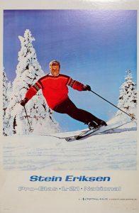 1969: Legenden og nordmannen Stein Eriksen foreviget i kjent stil nedover løypene. Eriksen kjørte for Idrettsforeningen Ready i Norge, og ble senere kalt «Mr. Ski» i USA.