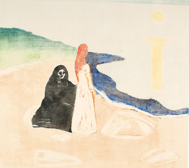 """Edvard Munch """"To kvinner på stranden"""". Tresnitt."""
