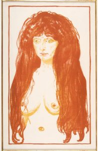 Edvard Munch, Synden, 1902. Litografi trykt i oransje, gult og grønt. The Gundersen Collection.