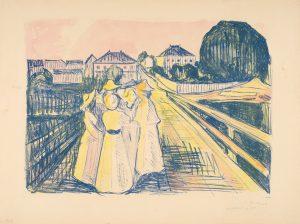 Edvard Munch, På broen, 1912-13. Litografi trykket i blått og håndkolorert i gult, rosa, oransje og grønt. The Gundersen Collection