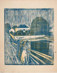 """Edvard Munch, """"Pikene på broen"""", 1918. Tresnitt og zinkografi trykt i blått og gult. The Gundersen Collection."""