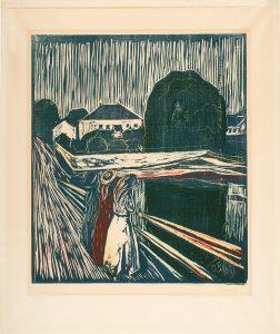 """Edvard Munch, """"Pikene på broen"""", 1918. Tresnitt og zinkografi trykt i rødt, blått, gult og grønt. The Gundersen Collection."""